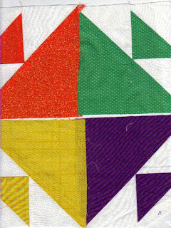 Try making quilt blocks with different size squares.