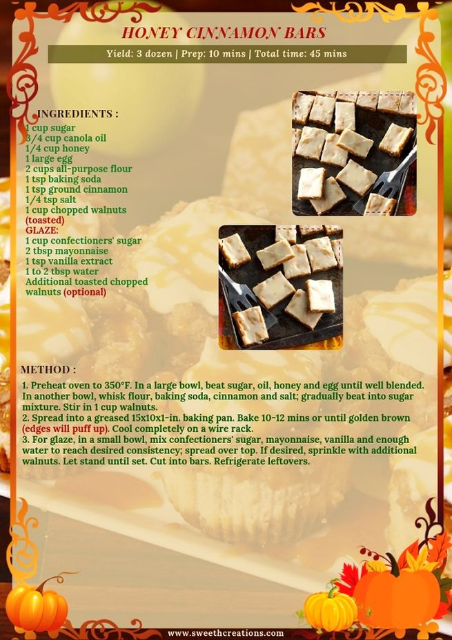 HONEY CINNAMON BARS RECIPE