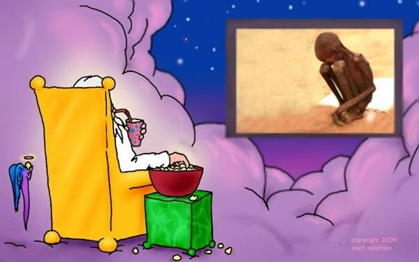 Funny God Watching Poverty On TV Joke Cartoon Picture