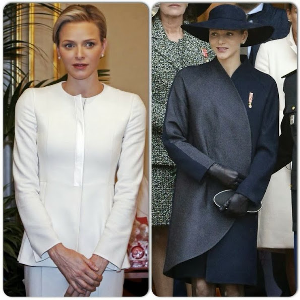 Princess Charlene of Monaco wears Akris Dress and Coat