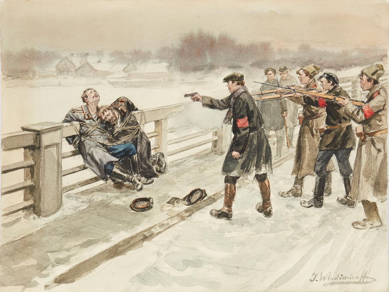 Расстрел белогвардейцев  без суда и следствия