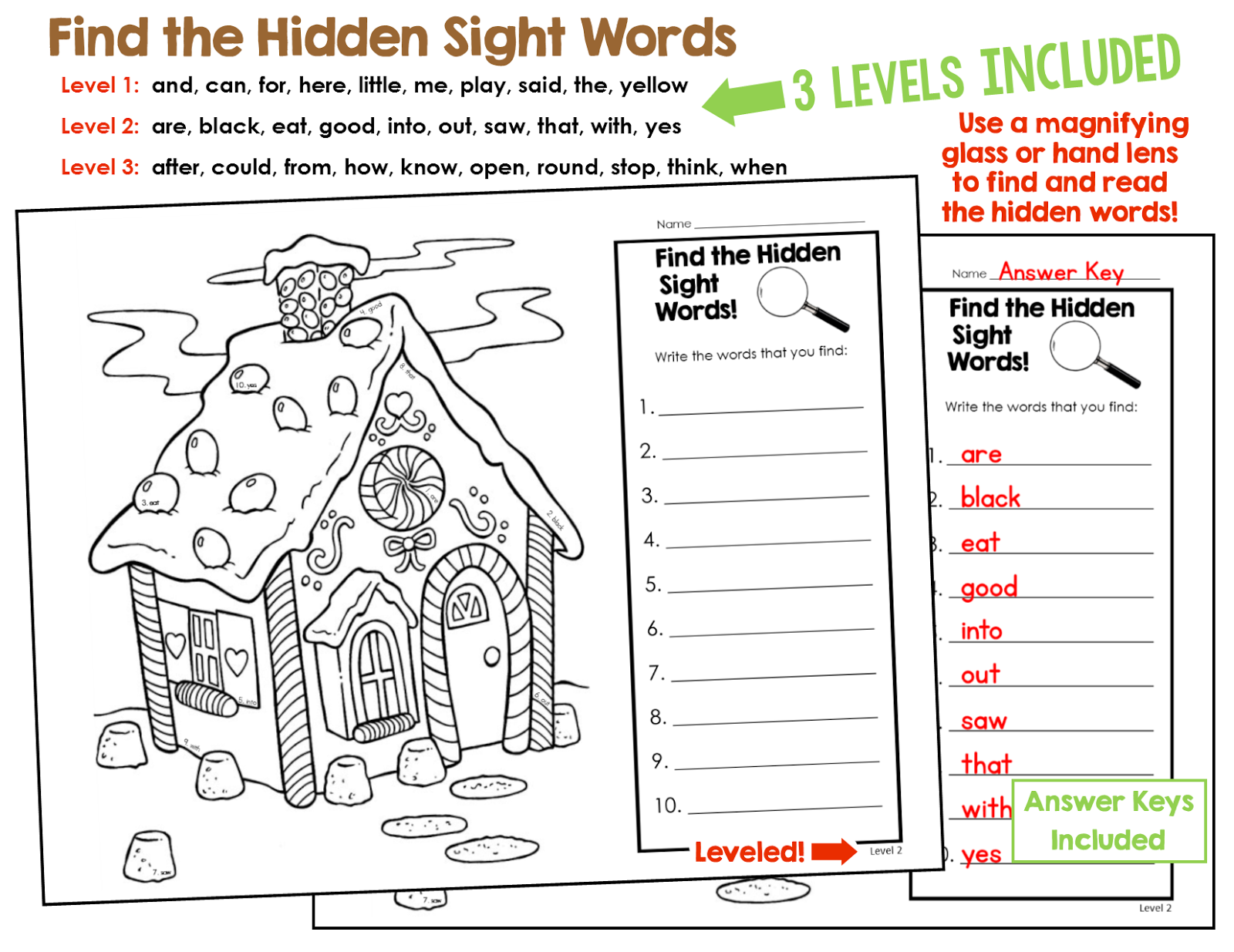 Gingerbread Activities For Sight Words