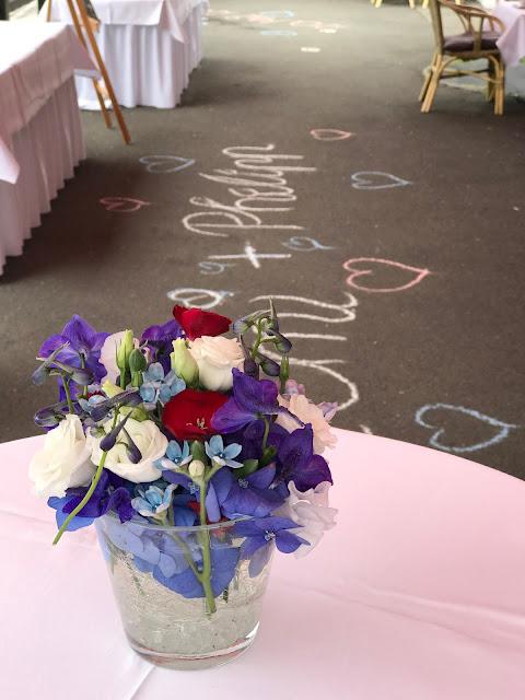 Kreideschrift, Rot Liebe, Blau Treue, Weiß Unschuld, Farbschema, Hochzeit, heiraten in Garmisch, Bayern, Deutschland, Riessersee Hotel, Hochzeitshotel, Hochzeitsplanerin Uschi Glas