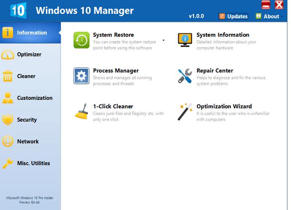 تحميل افضل برنامج لاصلاح و صيانة ويندوز 10 (Windows 10 Manager )