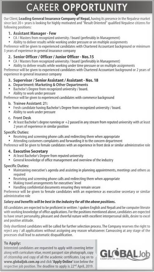 Career Opportunity at General Insurance Company of Nepal.