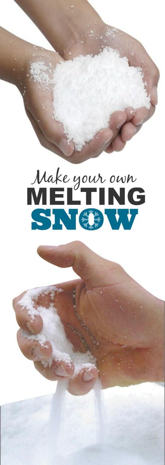 Make your own MELTING SNOW.  Kids won't believer their eyes as this stuff morphs in their hands!  SO COOL!