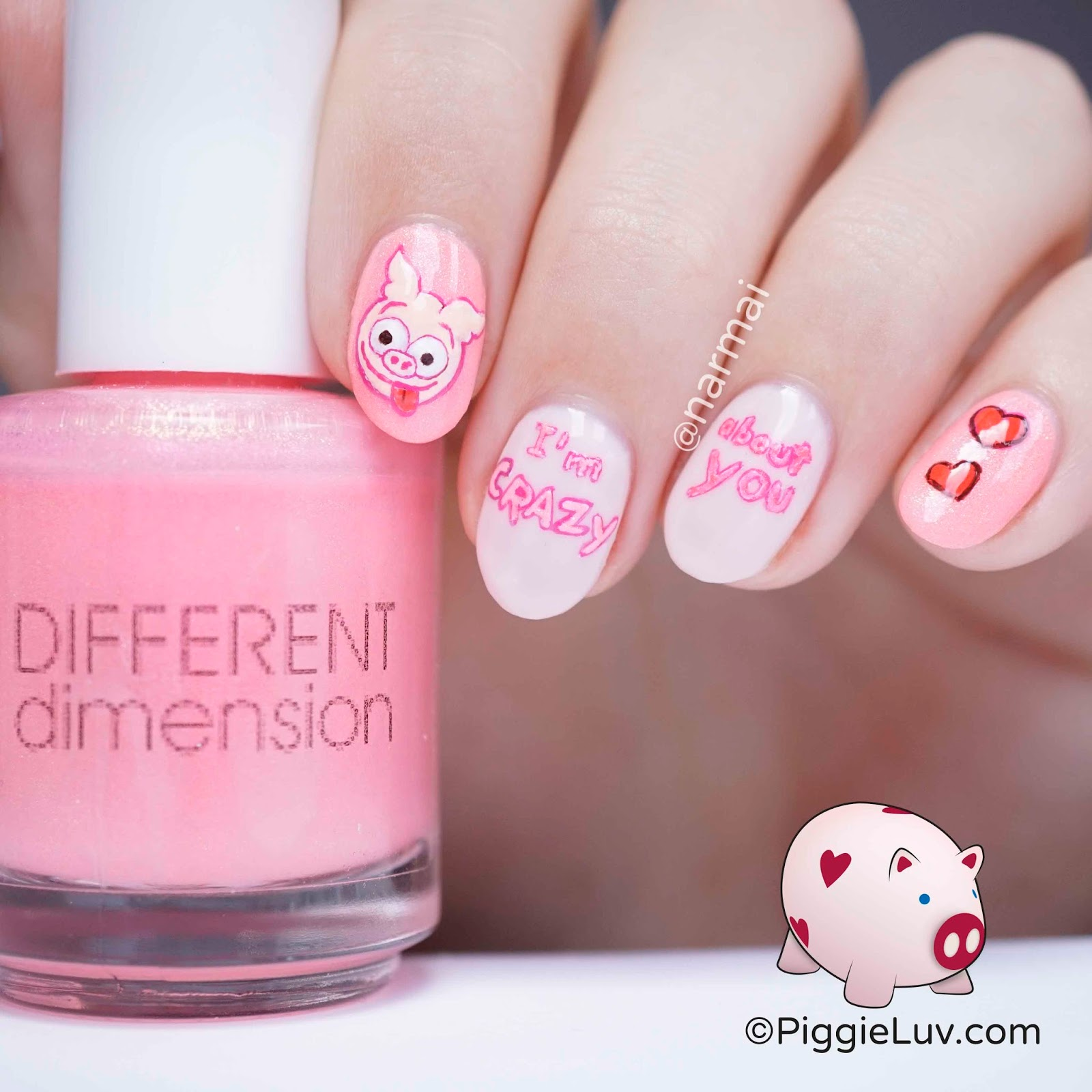 Pig Nail Art: PiggieLuv: Crazy Eyes Pig Nail Art For Valentine's Day