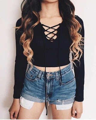 outfit tumblr adolescente casual con shorts