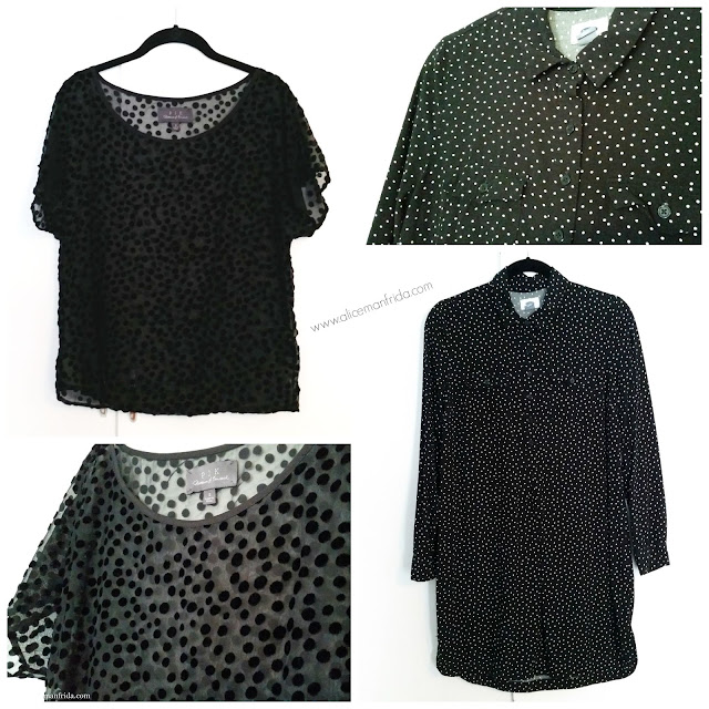 Buffalo Exchange, consignment haul, clothes, black, white, polka dots, shirt dress, sheer top, style, fashion, women's clothing, texture
