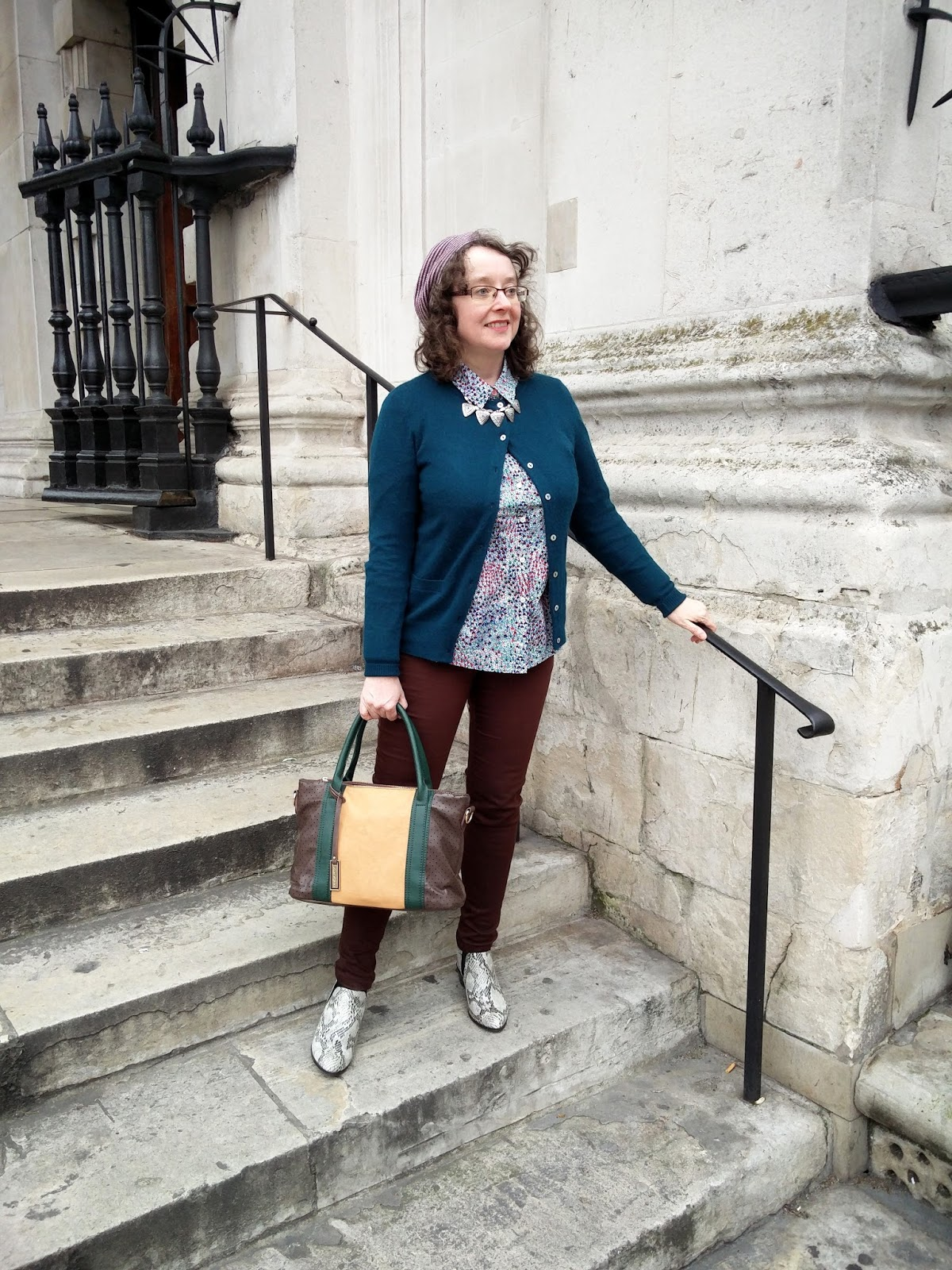 Boden Petite Shirt, Dorothy Perkins Petite Skinny Jeans, Marks&Spencer Snakeskin Boots | Petite Silver Vixen