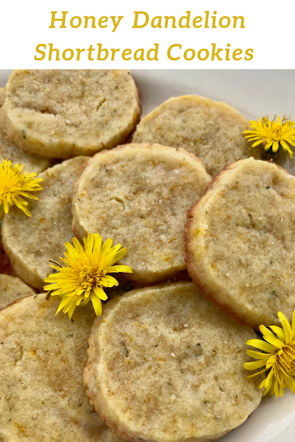 Closeup of dandelion shortbread cookies.