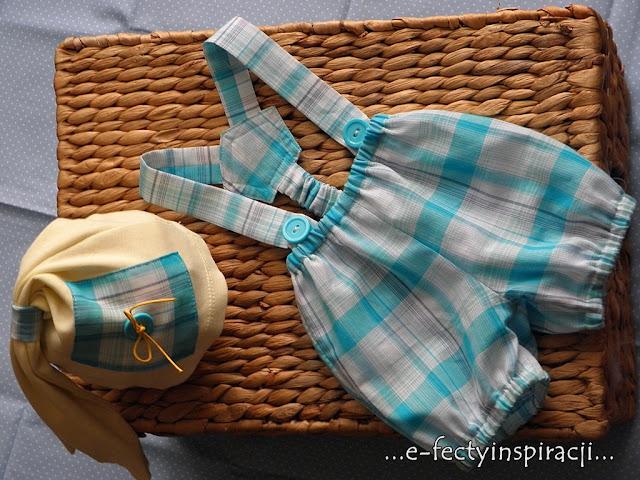 spodenki w kratkę, czapeczka z bawełny dla chłopca