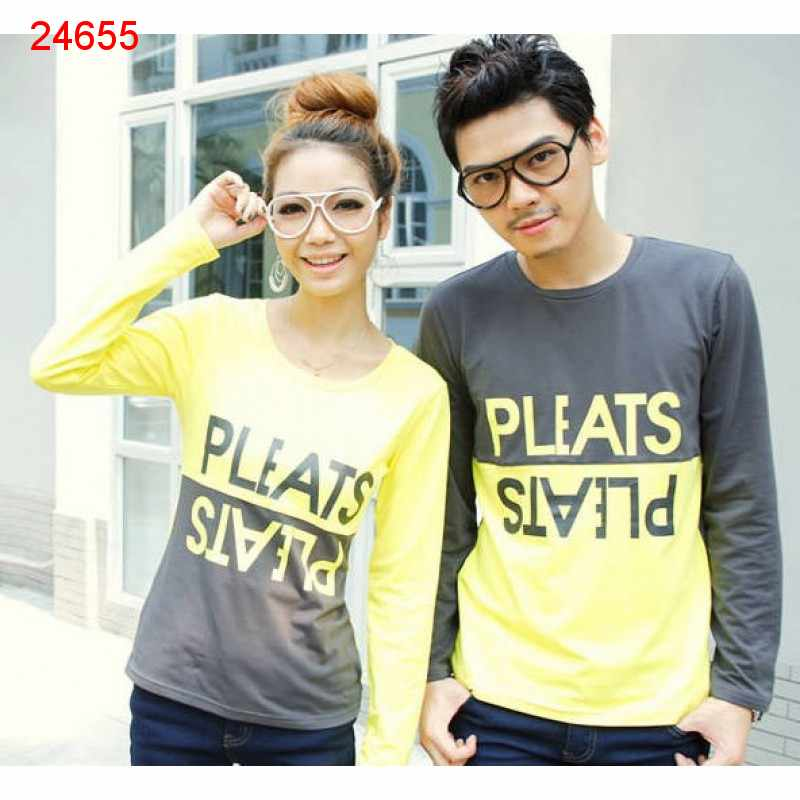 Jual Sweater Couple Sweater Pleats Abu Kuning - 24655