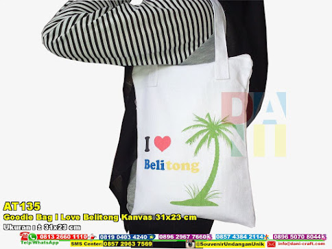 Goodie Bag I Love Belitong Kanvas 31x23 Cm