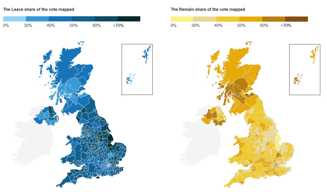 The leave & remain share of the vote mapped