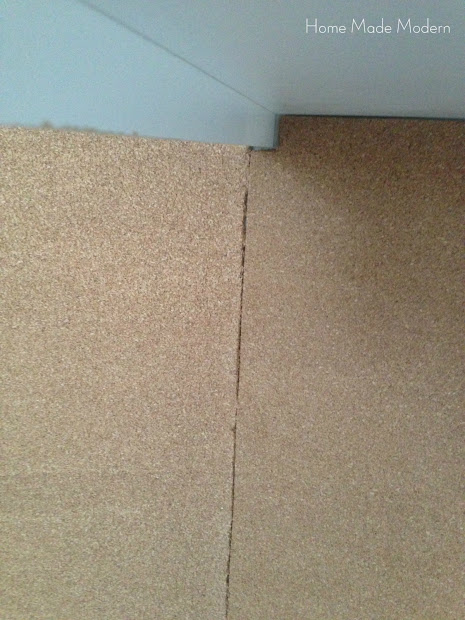cork board wall seams