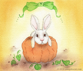 Whimsical Bunny on Pumpkin Illustration Art By Tawnya Boe