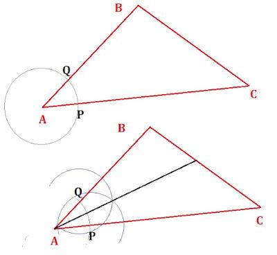 Langkah dan Cara Melukis Lingkaran Dalam Segitiga