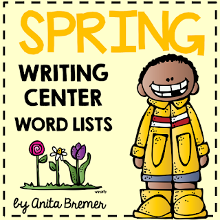 FREE Spring themed writing center word lists for your classroom. Perfect for Daily 5! K-2 #writingcenter #springwriting #kindergarten #freebies #1stgrade