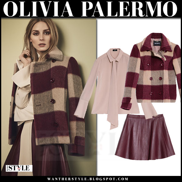 Olivia Palermo in burgundy check coat and leather burgundy skirt Max & Co fall 2016 what she wore