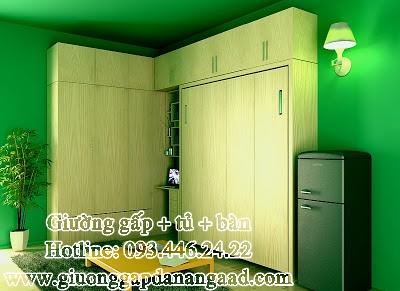 Giường gấp đa năng kèm tủ quần áo và bàn làm việc
