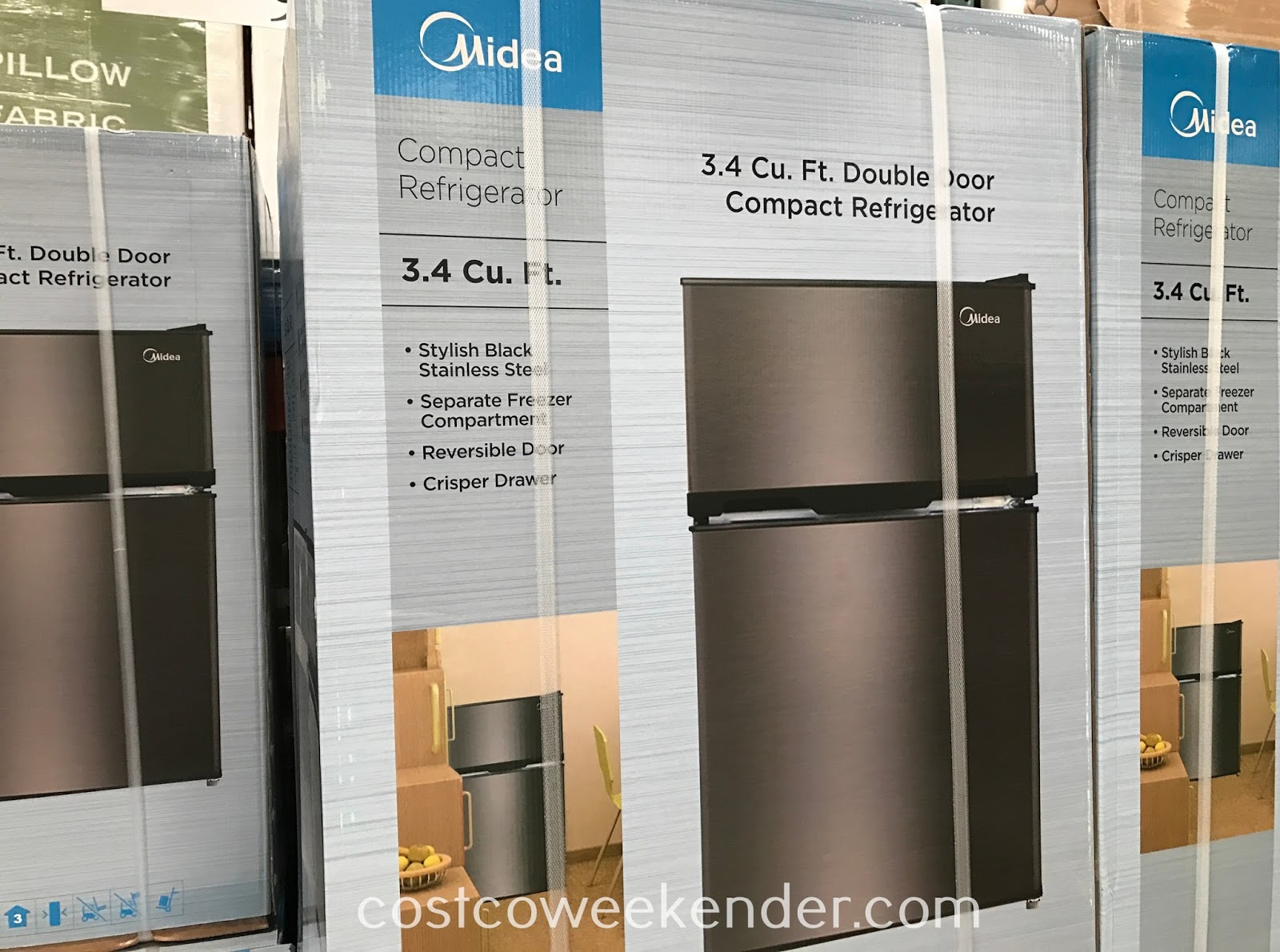 1190 #20739B  With The Midea WHD 125FBS1 3.4 Cu Ft Double Door Compact Refrigerator pic Costco Doors 47611600