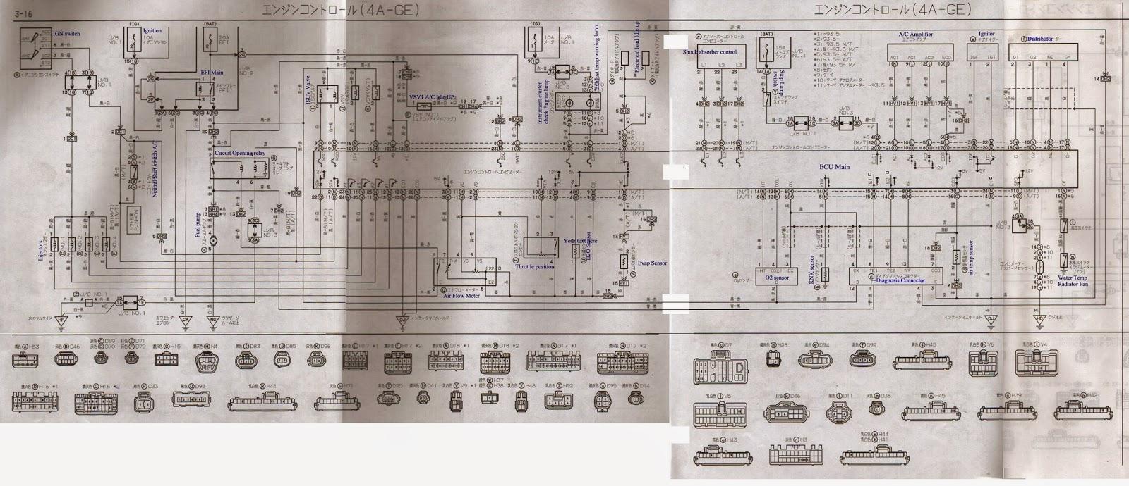 4A-GE 20V AE101 ECU pinout,wiring diagram