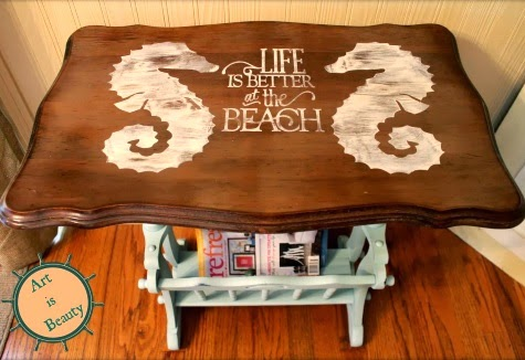 magazine table makeover with seahorses and saying