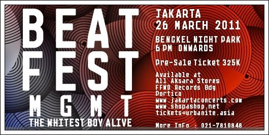Beatfest 2011 featuring MGMT and The Whitest Boy Alive at Bengkel Night Park, Jakarta.