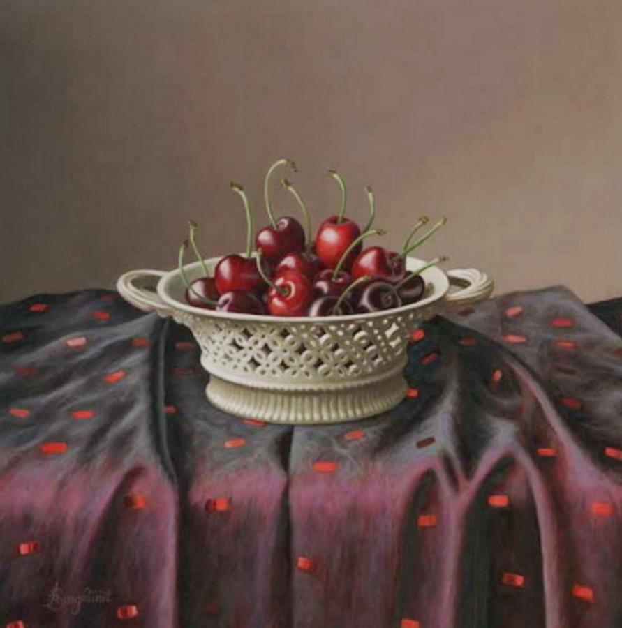Imgenes Arte Pinturas Manteles y Frutas Sobre Mesa Obras de Anne Songhurst