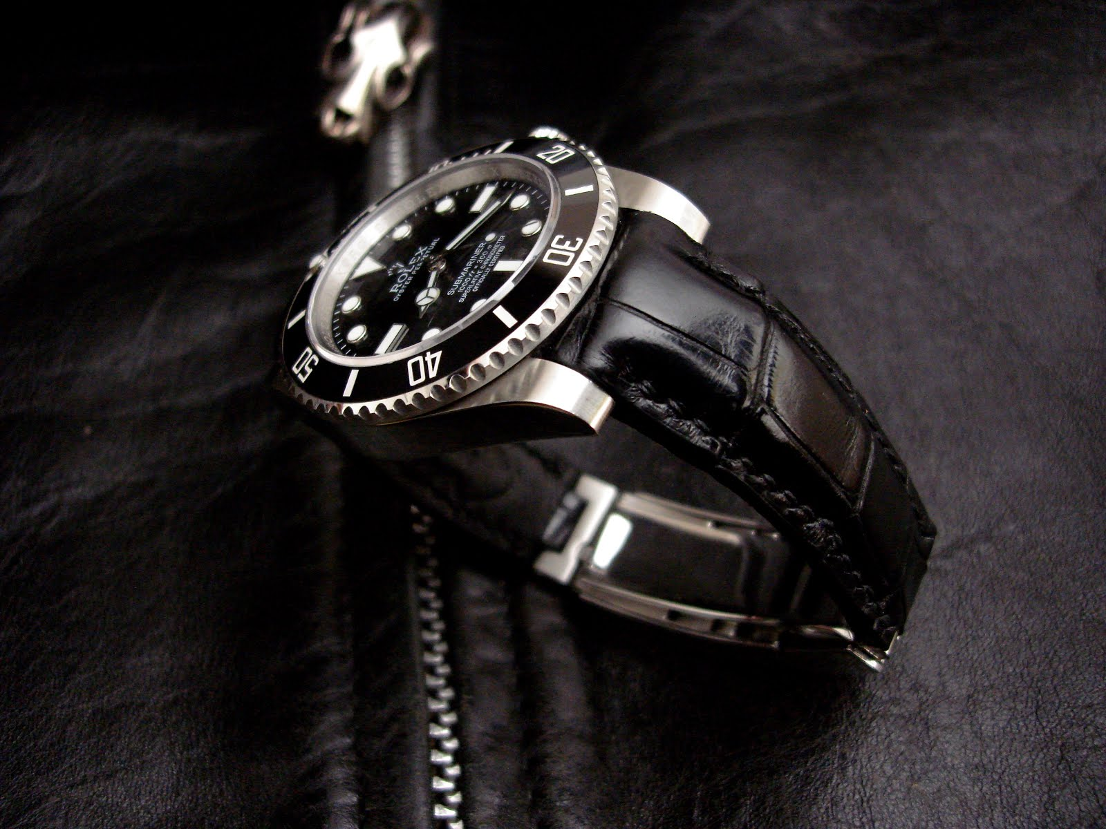 Rolex Sub on 'Million Dollar' Black with TCLS and Glide-Lock clasp fit