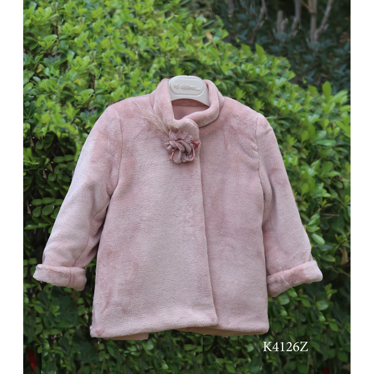 Pink christening fur coat for girl K4126z