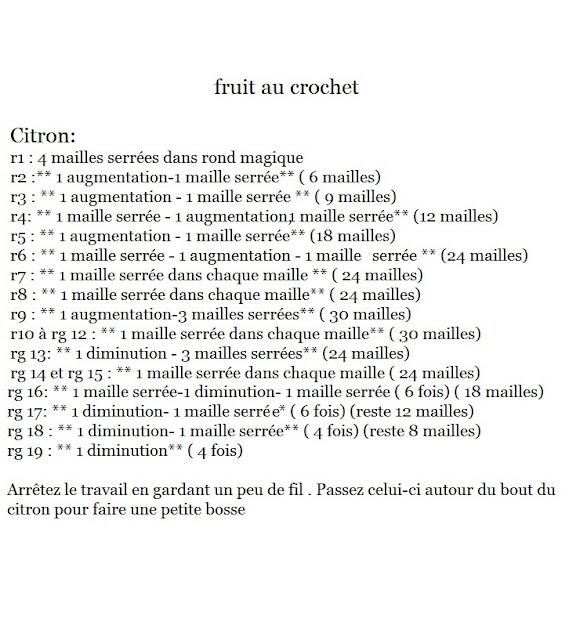 modèle gratuit citron au crochet