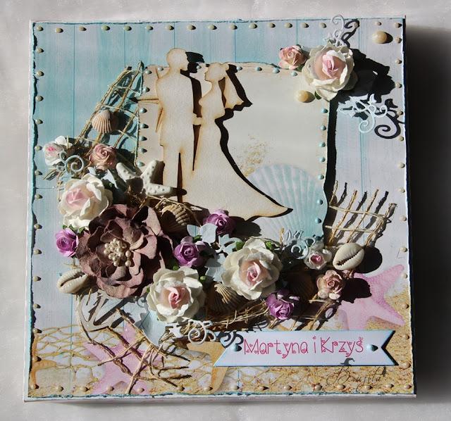 kartka składak, kartka ślubna, komplet ślubny, zaproszenia na ślub, morski ślub, handmade, rękodzieło, na zamówienie, kartka ze zdjęciem, Rafa Koralowa inspiracje, Magiczna Kartka inspiracje, pudełko na kartki, kartka warstwowa, kartka z tekturką, tekturka I-kropka inspiracje,