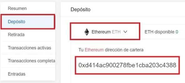 depositar ethereum en KuCoin