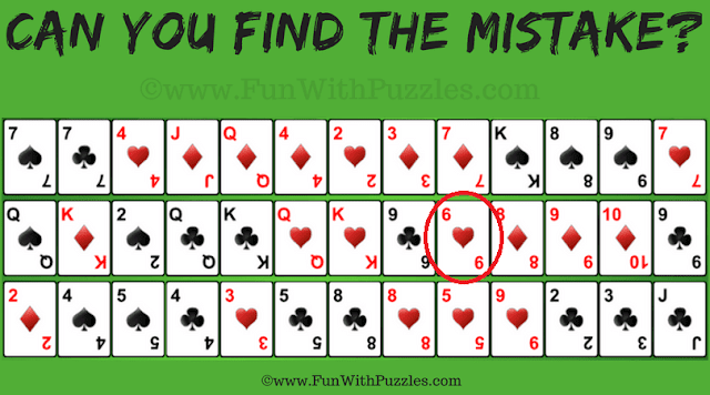 Answer of Mistake Finding Gaps Solitaire Card Game Puzzle