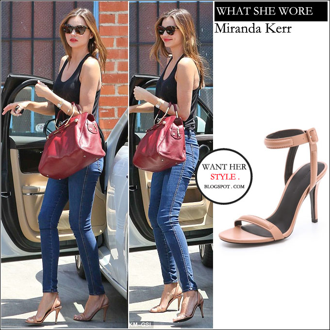 8345c95dcd04 WHAT SHE WORE  Miranda Kerr in beige ankle strap sandals in Hollywood on  April 25 ~ I want her style - What celebrities wore and where to buy it.