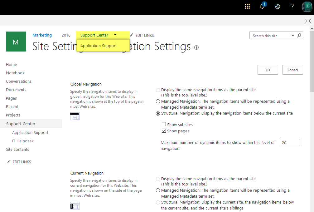 sharepoint online add link to top navigation using powershell