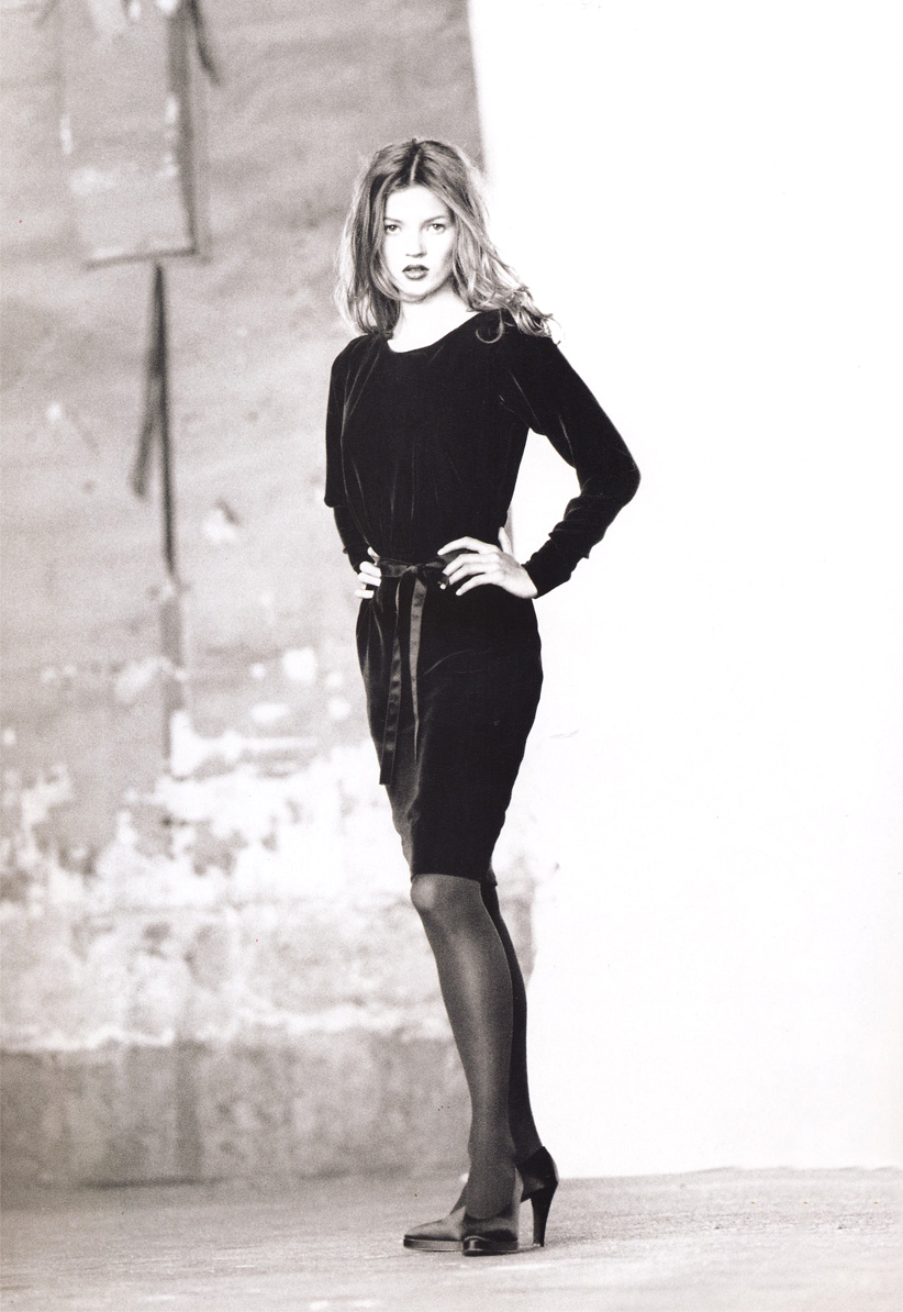 Kate Moss wearing Yves Saint Laurent in Vogue Paris August 1993 (photography: Max Vadukul, styling: Nicoletta Santoro) via www.fashionedbylove.co.uk