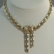 Golden textured link necklace attributed to Coro