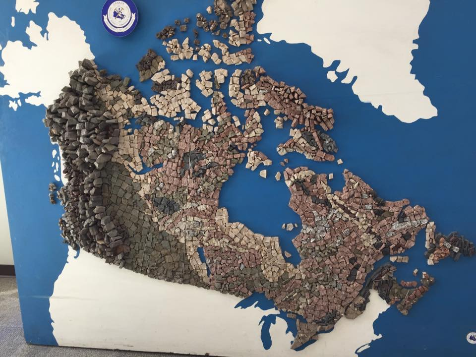 Geological map of Canada, made out of rocks taken from each region