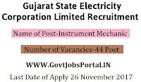 Gujarat State Electricity Corporation Recruitment 2017– 44 Instrument Mechanic