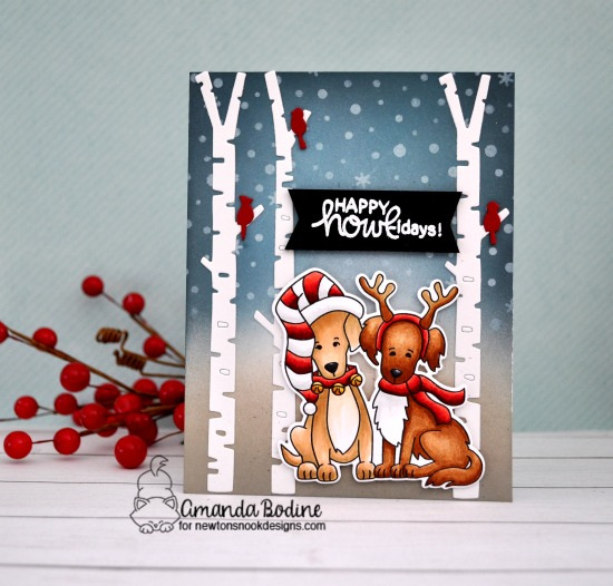 Dog Christmas Card by Amanda Bodine | Happy Howl-idays Stamp Set, Forest Scene Builder Die Set, and Petite Snow Stencil by Newton's Nook Designs #newtonsnook #handmade