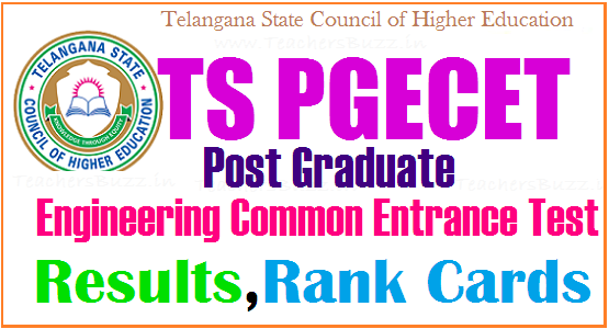TS PGECET 2019 Results Rank cards @ pgecet tsche ac in |Telangana