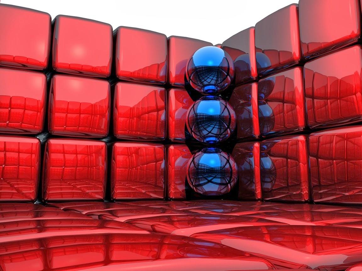 Fondo De Pantalla Abstracto Bolas Azules: Fondo De Pantalla Abstracto Bolas Azules Y Cubos Rojos
