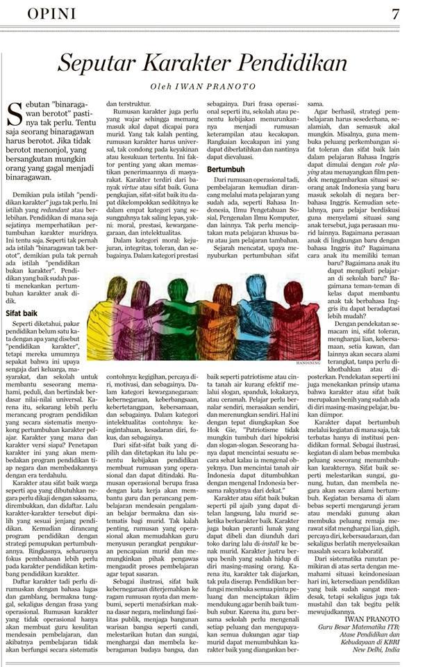 Iwan Pranoto: Seputar Karakter Pendidikan