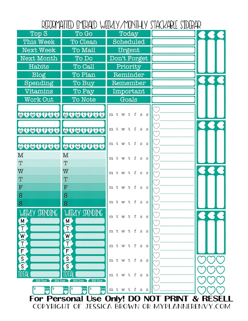 Free Printable Reformatted Weekly/Monthly Stackable Sidebar in Emerald from myplannerenvy.com