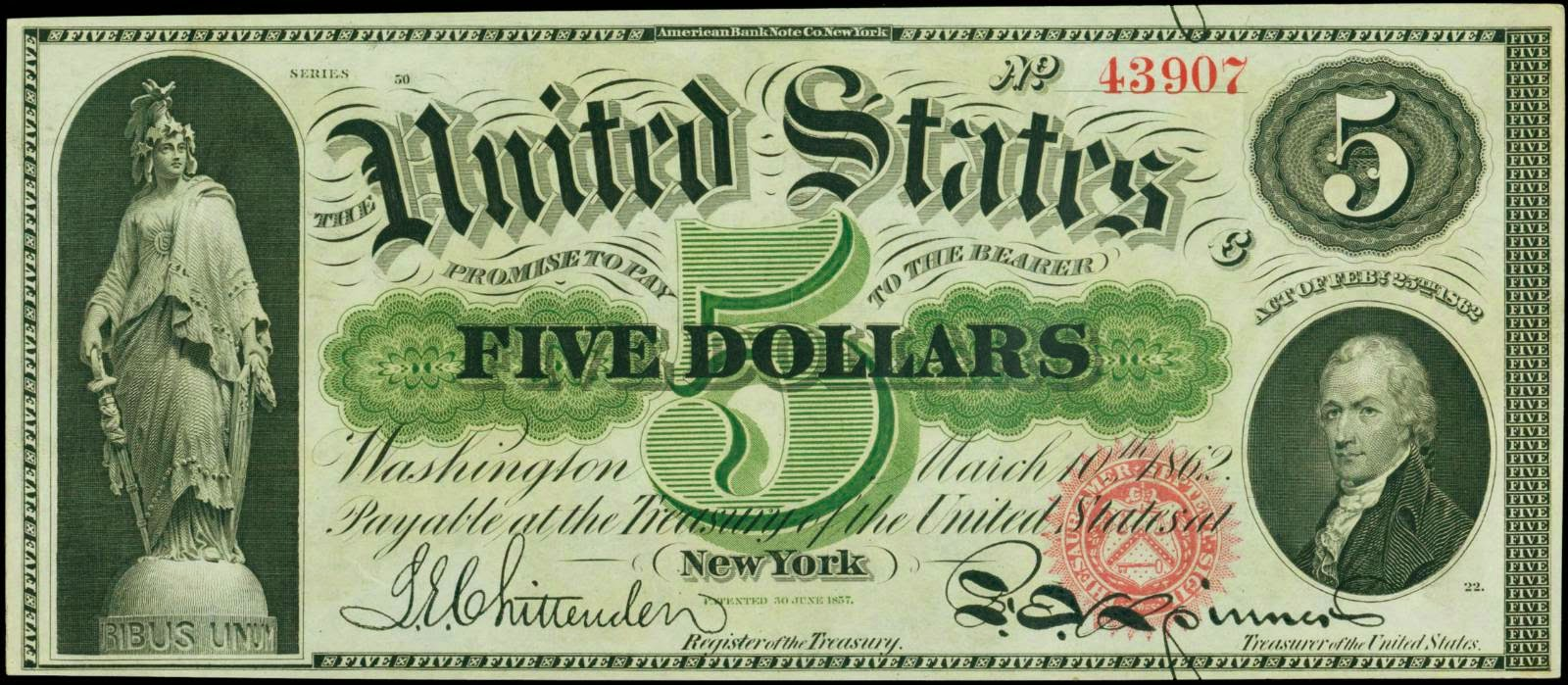 United States currency 5 Dollar Legal Tender Note Hamilton 1862