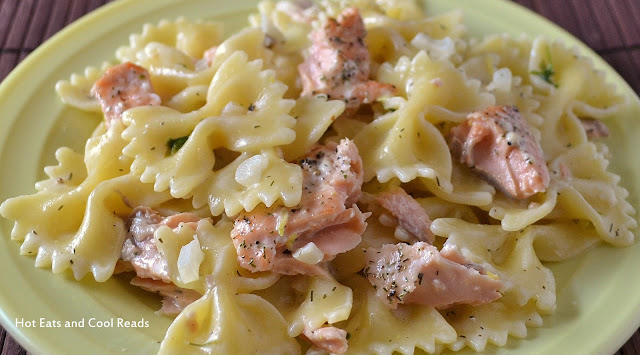 A delicious and easy meal that's great for any night of the week! Salmon and Pasta with Lemon Dill Sauce Recipe from Hot Eats and Cool Reads