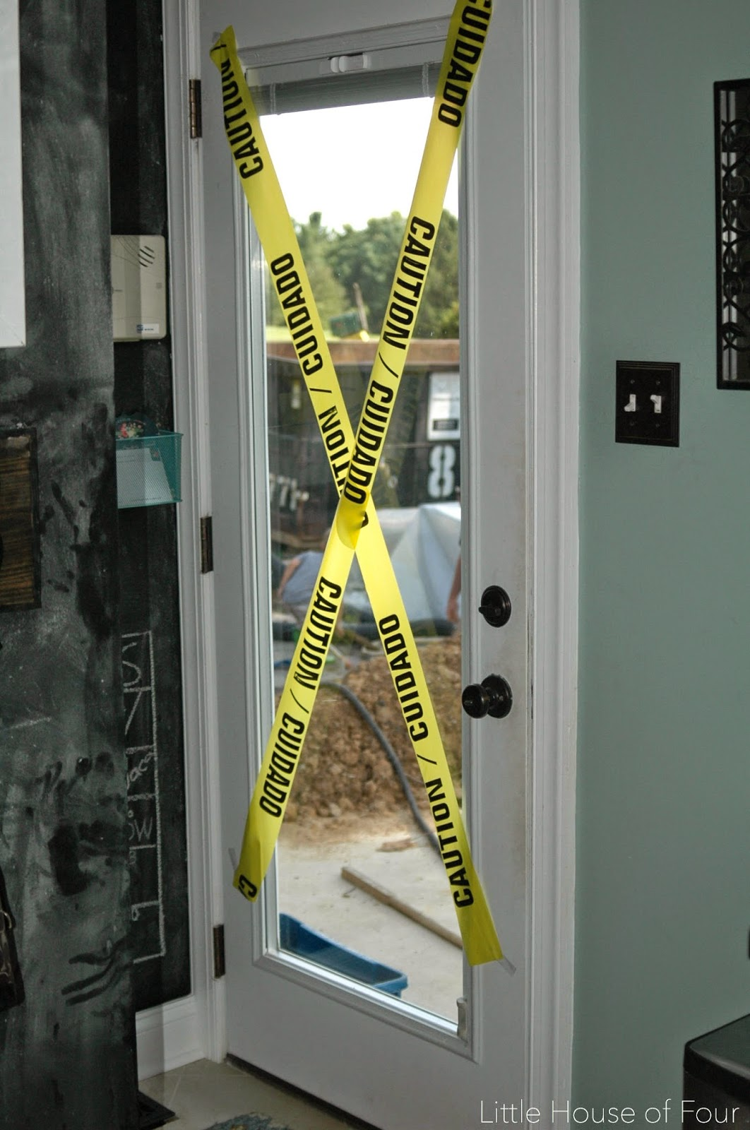 Construction tape on doors